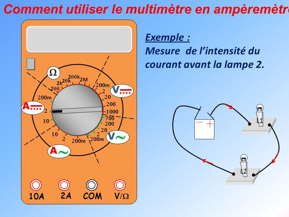  V  2A 10A COM      m    m 2k 20k20k 2 00 k 2 00 2M  m       m V V  A  A Exemple : Mesure de l'intensité du cou
