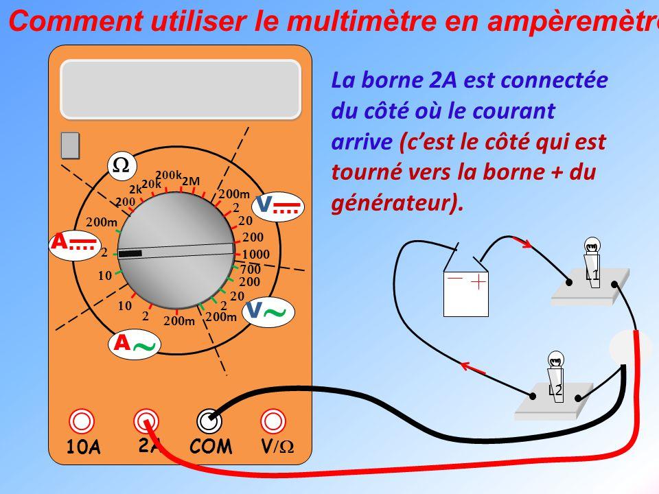  V  2A 10A COM      m    m 2k 20k20k 2 00 k 2 00 2M  m       m V V  A  A Exemple de mesure d'intensité L1 L2 On est sur le calibre 2A.