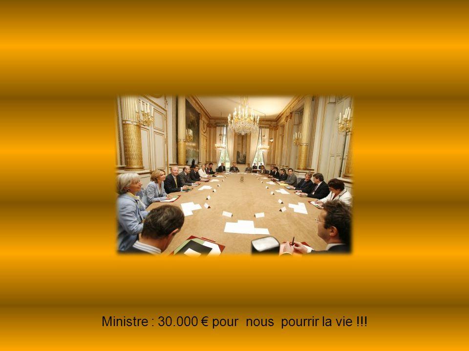 Ministre : 30.000 € pour nous pourrir la vie !!!