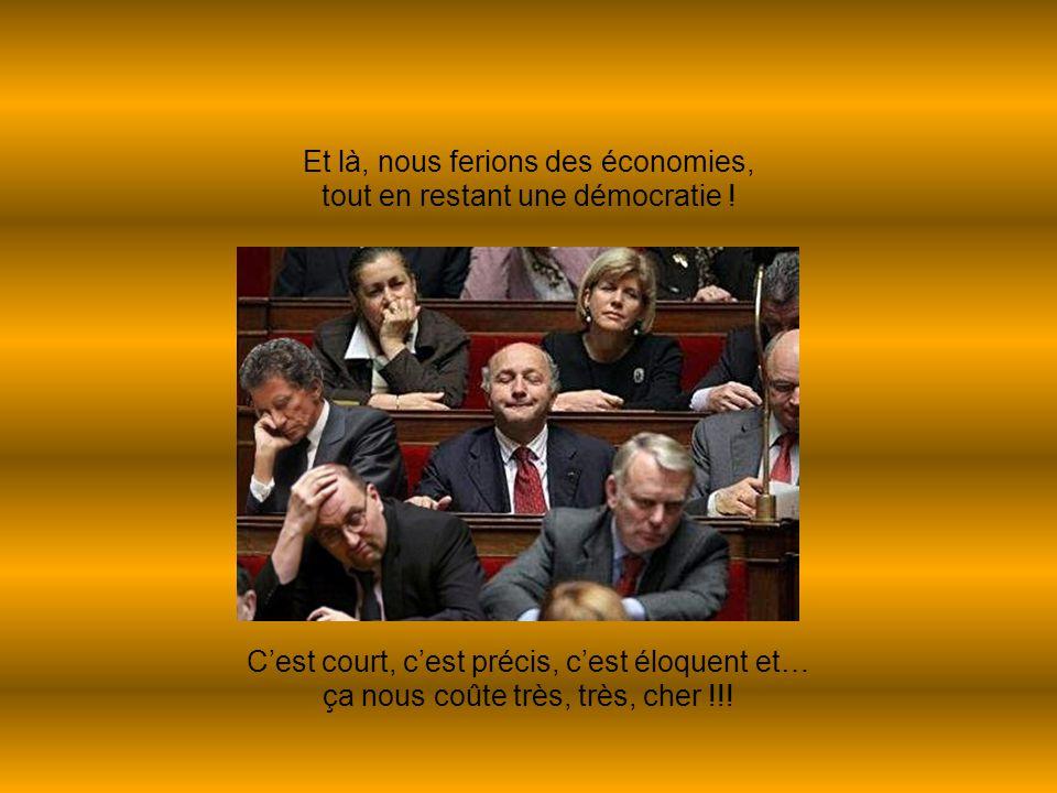 Et là, nous ferions des économies, tout en restant une démocratie ! C'est court, c'est précis, c'est éloquent et… ça nous coûte très, très, cher !!!