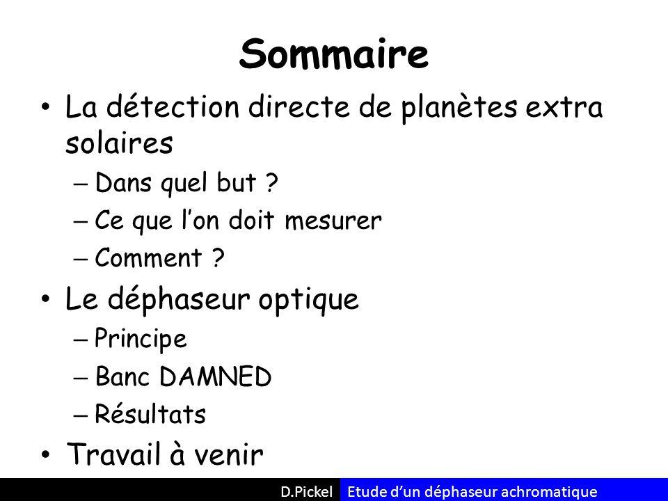 D.Pickel Sommaire La détection directe de planètes extra solaires – Dans quel but .
