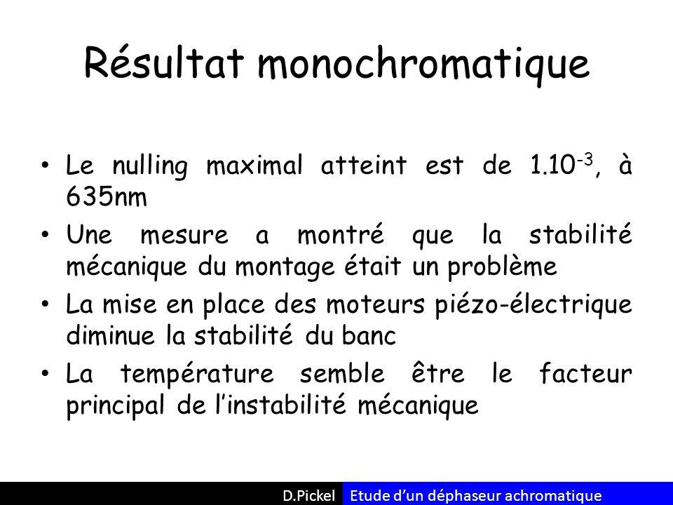 Résultat monochromatique Le nulling maximal atteint est de 1.10 -3, à 635nm Une mesure a montré que la stabilité mécanique du montage était un problème La mise en place des moteurs piézo-électrique diminue la stabilité du banc La température semble être le facteur principal de l'instabilité mécanique D.PickelEtude d'un déphaseur achromatique