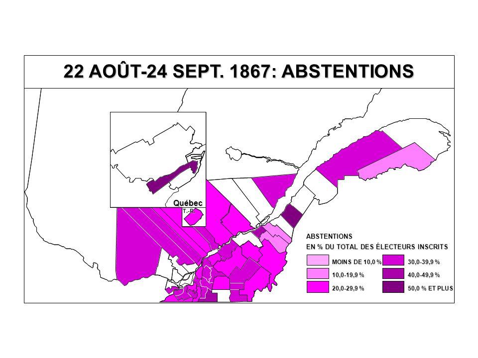 EN % DU TOTAL DES ÉLECTEURS INSCRITS ABSTENTIONS 40,0-49,9 % 30,0-39,9 % 20,0-29,9 % 10,0-19,9 % MOINS DE 10,0 % 50,0 % ET PLUS Québec T.-R.
