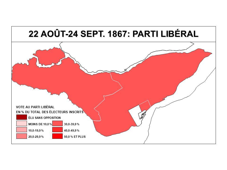 EN % DU TOTAL DES ÉLECTEURS INSCRITS VOTE AU PARTI LIBÉRAL 40,0-49,9 % 30,0-39,9 % 20,0-29,9 % 10,0-19,9 % MOINS DE 10,0 % ÉLU SANS OPPOSITION 50,0 % ET PLUS 22 AOÛT-24 SEPT.