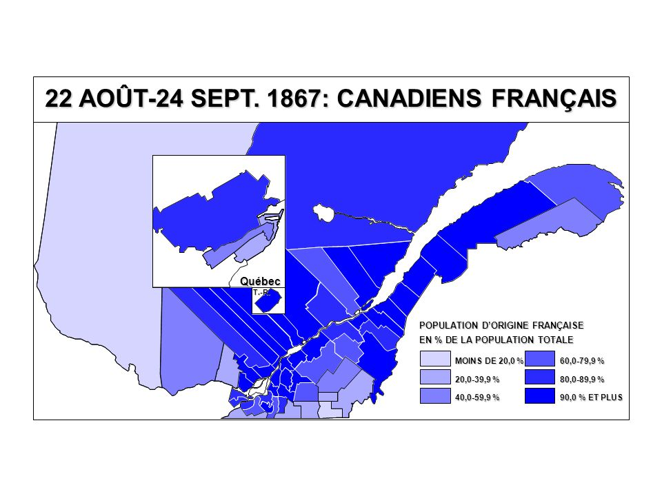 EN % DE LA POPULATION TOTALE POPULATION D'ORIGINE FRANÇAISE 80,0-89,9 % 60,0-79,9 % 40,0-59,9 % 20,0-39,9 % MOINS DE 20,0 % 90,0 % ET PLUS 22 AOÛT-24 SEPT.