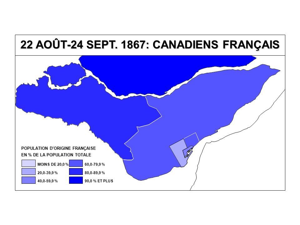 0 10 20 30 40 50 60 70 80 90 0102030405060708090100 % DE CANADIENS FRANÇAIS % AU PARTI LIBÉRAL 22 AOÛT-24 SEPTEMBRE 1867 VOTE AU PARTI LIBÉRAL SELON LE % DE CANADIENS FRANÇAIS ENSEMBLE DU QUÉBEC (34 CIRCONSCRIPTIONS)