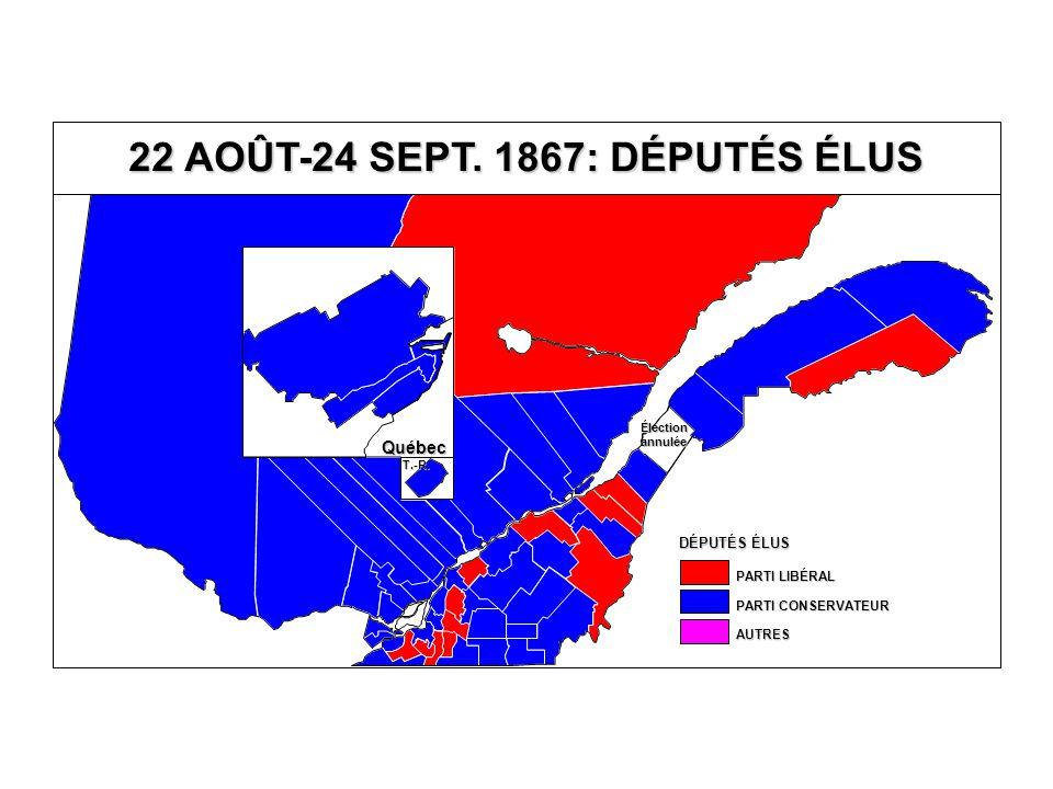 0 10 20 30 40 50 60 70 80 90 100 0102030405060708090100 % DE CANADIENS FRANÇAIS % AU PARTI CONSERVATEUR 22 AOÛT-24 SEPTEMBRE 1867 VOTE AU PARTI CONSERVATEUR SELON LE % DE CANADIENS FRANÇAIS ENSEMBLE DU QUÉBEC (43 CIRCONSCRIPTIONS)