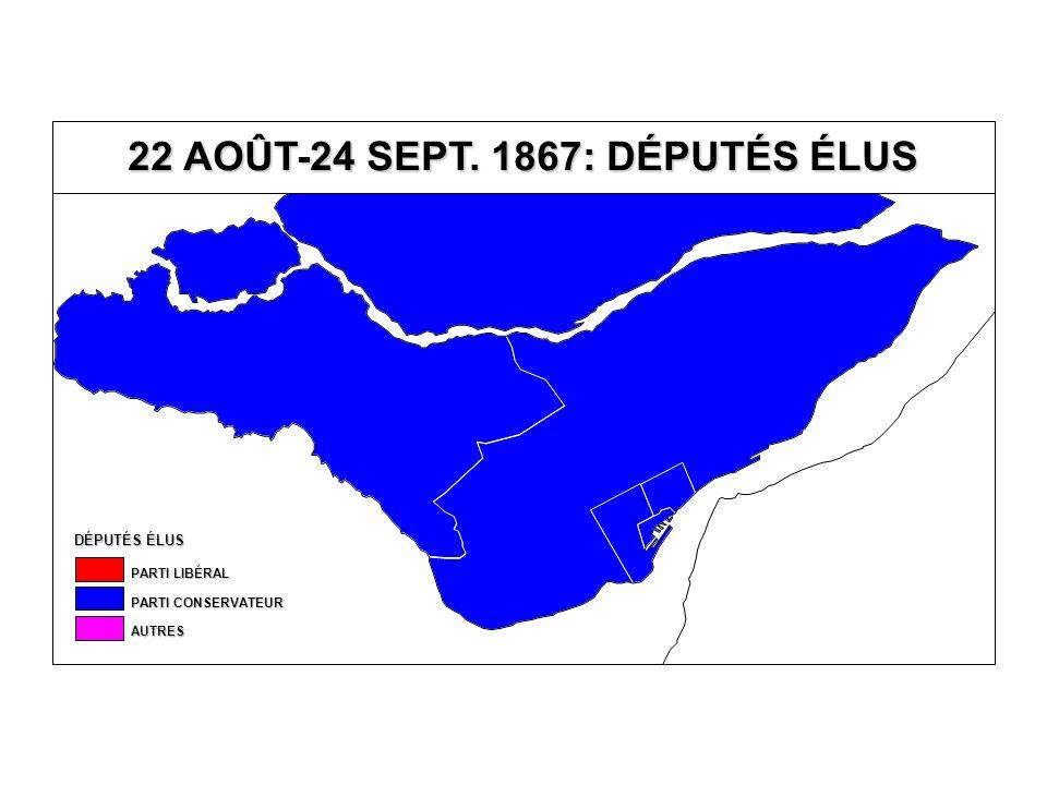 22 AOÛT-24 SEPTEMBRE 1867 ESTIMATION (EN %) DU TAUX DE PARTICIPATION ET DU VOTE SELON L'ORIGINE ENSEMBLE DU QUÉBEC (45 CIRCONSCRIPTIONS) LES INTERVALLES DE CONFIANCE SONT AU NIVEAU DE 95 % CANADIENS FRANÇAIS CANADIENS ANGLAIS ET AUTRES R2R2R2R2 TAUX DE PARTICIPATION 68,7 % ± 14,2 % 70,0 % ± 11,9 % 0,001 PARTI LIBÉRAL 34,9 % ± 22,4 % 31,1 % ± 18,6 % 0,001 PARTI CONSERVATEUR 51,4 % ± 13,8 % 57,6 % ± 11,6 % 0,012 AUTRES 13,7 % ± 19,4 % 11,3 % ± 16,1 % 0,001 CIRCONSCRIPTIONS QUI S'ÉCARTENT SIGNIFICATIVEMENT DES VALEURS ESTIMÉES PAR LA RÉGRESSION TAUX DE PARTICIPATION: L'Islet (-) Québec-Centre (-) PARTI CONSERVATEUR: Iberville (-) Napierville (-) Saint-Jean (-) AUTRES: Berthier (+)
