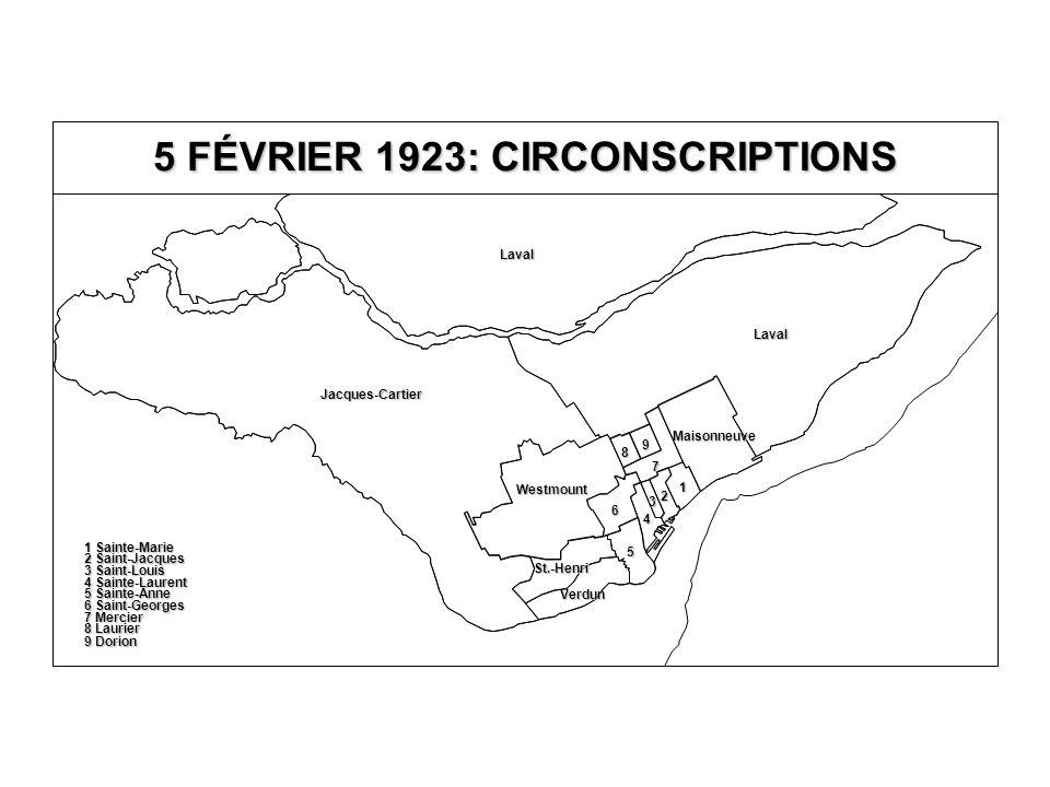 5 FÉVRIER 1923: CIRCONSCRIPTIONS Jacques-Cartier Laval Laval Verdun Westmount Maisonneuve 7 8 9 6 5 4 3 2 1 8 Laurier 9 Dorion 7 Mercier 6 Saint-Georges 5 Sainte-Anne 4 Sainte-Laurent 3 Saint-Louis 2 Saint-Jacques 1 Sainte-Marie St.-Henri