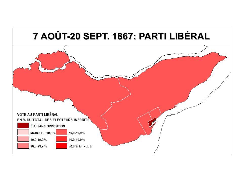 EN % DU TOTAL DES ÉLECTEURS INSCRITS VOTE AU PARTI LIBÉRAL 40,0-49,9 % 30,0-39,9 % 20,0-29,9 % 10,0-19,9 % MOINS DE 10,0 % ÉLU SANS OPPOSITION 50,0 % ET PLUS 7 AOÛT-20 SEPT.