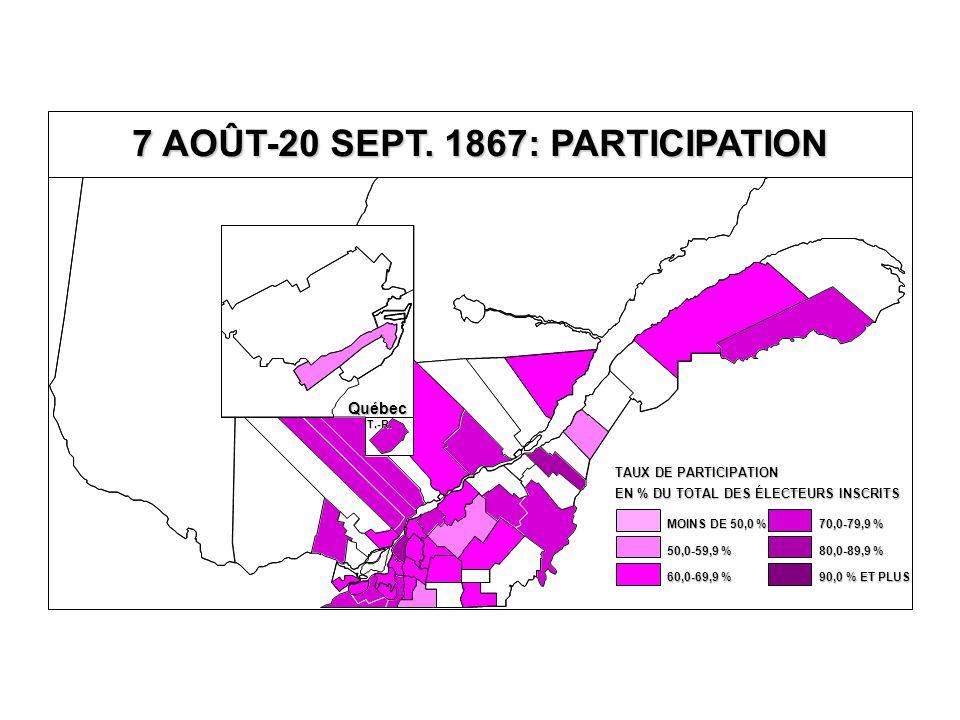 EN % DU TOTAL DES ÉLECTEURS INSCRITS TAUX DE PARTICIPATION 80,0-89,9 % 70,0-79,9 % 60,0-69,9 % 50,0-59,9 % MOINS DE 50,0 % 90,0 % ET PLUS Québec T.-R.