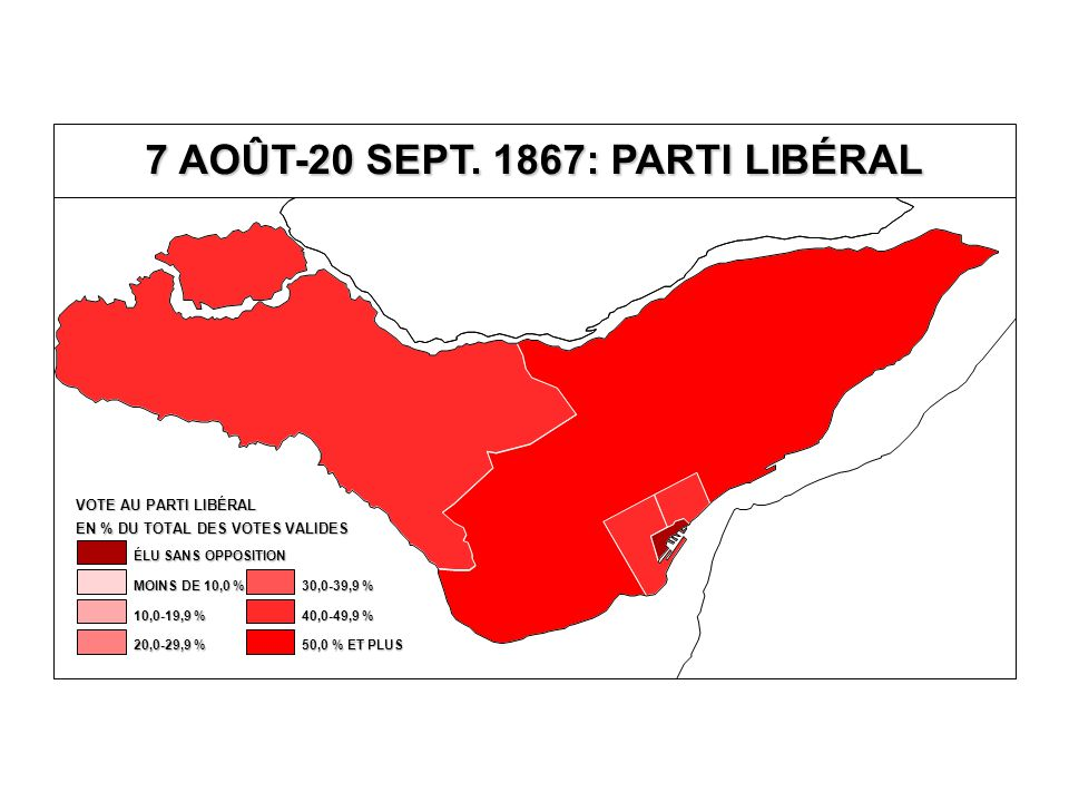 EN % DU TOTAL DES VOTES VALIDES VOTE AU PARTI LIBÉRAL 40,0-49,9 % 30,0-39,9 % 20,0-29,9 % 10,0-19,9 % MOINS DE 10,0 % ÉLU SANS OPPOSITION 50,0 % ET PLUS
