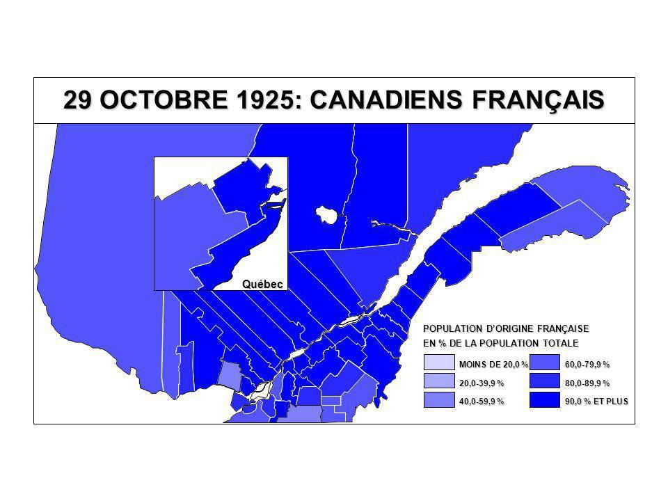 29 OCTOBRE 1925: CANADIENS FRANÇAIS Québec EN % DE LA POPULATION TOTALE POPULATION D'ORIGINE FRANÇAISE 80,0-89,9 % 60,0-79,9 % 40,0-59,9 % 20,0-39,9 % MOINS DE 20,0 % 90,0 % ET PLUS