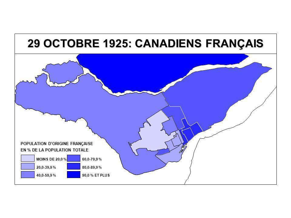 29 OCTOBRE 1925: CANADIENS FRANÇAIS EN % DE LA POPULATION TOTALE POPULATION D'ORIGINE FRANÇAISE 80,0-89,9 % 60,0-79,9 % 40,0-59,9 % 20,0-39,9 % MOINS DE 20,0 % 90,0 % ET PLUS