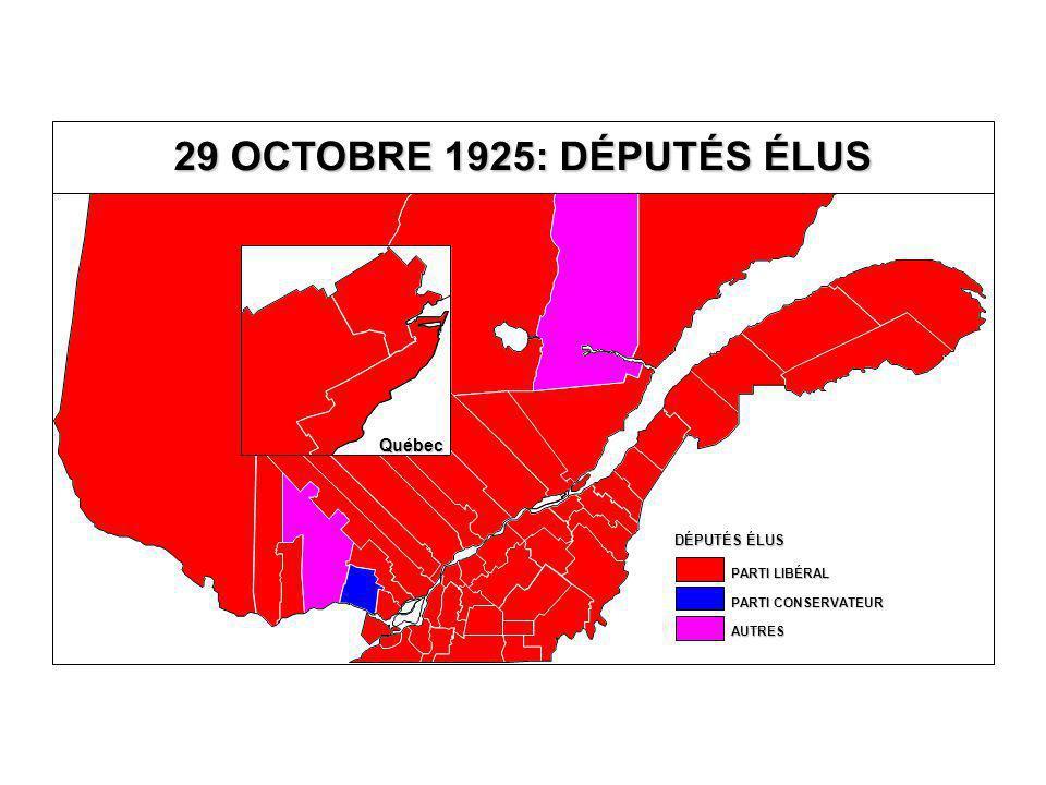 DÉPUTÉS ÉLUS AUTRES PARTI CONSERVATEUR PARTI LIBÉRAL 29 OCTOBRE 1925: DÉPUTÉS ÉLUS Québec