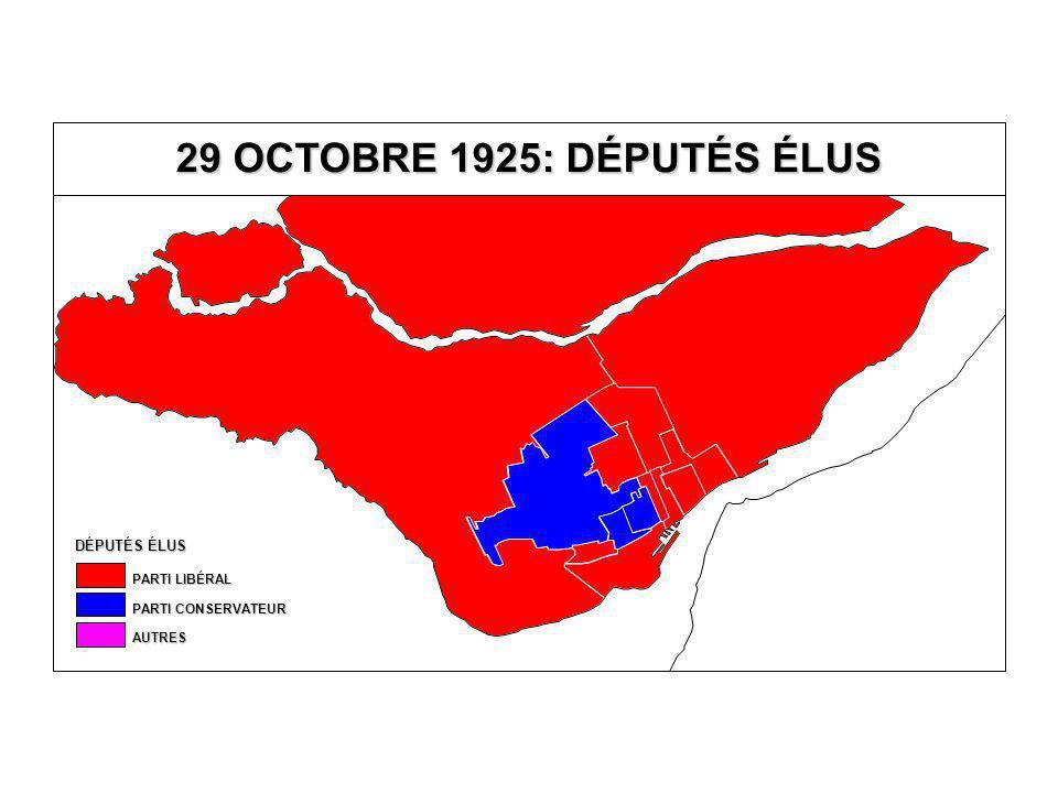DÉPUTÉS ÉLUS AUTRES PARTI CONSERVATEUR PARTI LIBÉRAL 29 OCTOBRE 1925: DÉPUTÉS ÉLUS