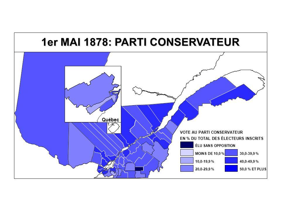 EN % DU TOTAL DES ÉLECTEURS INSCRITS VOTE AU PARTI CONSERVATEUR 40,0-49,9 % 30,0-39,9 % 20,0-29,9 % 10,0-19,9 % MOINS DE 10,0 % ÉLU SANS OPPOSITION 50,0 % ET PLUS Québec T.-R.