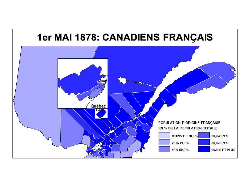 1er MAI 1878: CANADIENS FRANÇAIS Québec T.-R. EN % DE LA POPULATION TOTALE POPULATION D'ORIGINE FRANÇAISE 80,0-89,9 % 60,0-79,9 % 40,0-59,9 % 20,0-39,