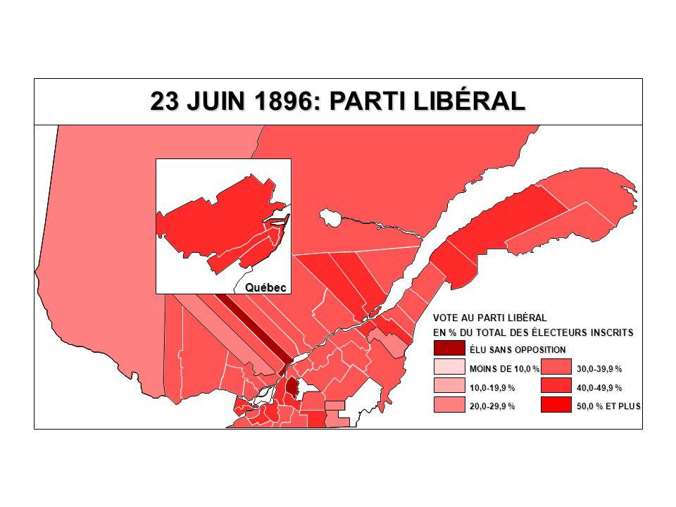 EN % DU TOTAL DES ÉLECTEURS INSCRITS VOTE AU PARTI LIBÉRAL 40,0-49,9 % 30,0-39,9 % 20,0-29,9 % 10,0-19,9 % MOINS DE 10,0 % ÉLU SANS OPPOSITION 50,0 % ET PLUS Québec 23 JUIN 1896: PARTI LIBÉRAL