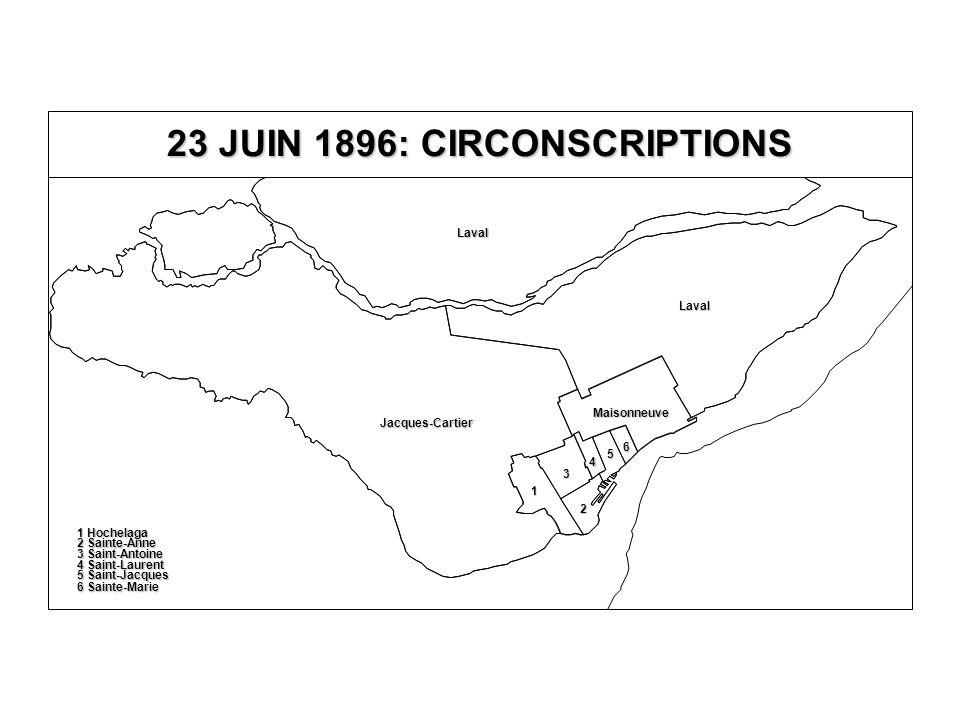 23 JUIN 1896: CIRCONSCRIPTIONS Jacques-Cartier Laval Laval Maisonneuve 5 Saint-Jacques 6 Sainte-Marie 4 Saint-Laurent 3 Saint-Antoine 2 Sainte-Anne 1 Hochelaga 5 6 4 3 2 1
