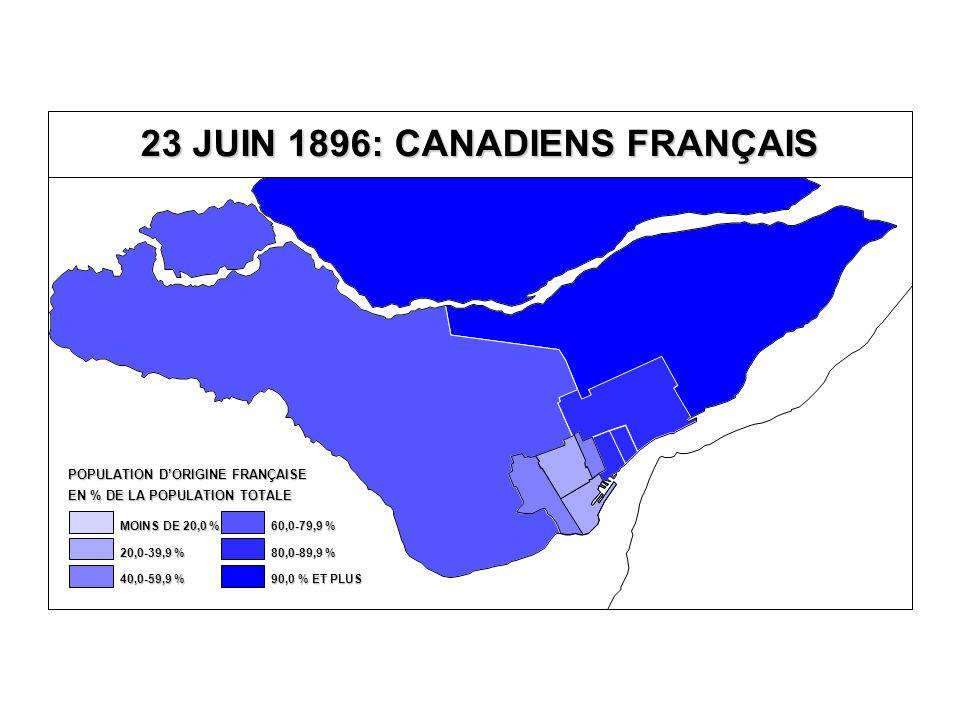 23 JUIN 1896: CANADIENS FRANÇAIS EN % DE LA POPULATION TOTALE POPULATION D'ORIGINE FRANÇAISE 80,0-89,9 % 60,0-79,9 % 40,0-59,9 % 20,0-39,9 % MOINS DE 20,0 % 90,0 % ET PLUS