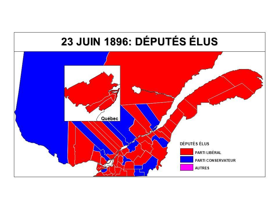 DÉPUTÉS ÉLUS AUTRES PARTI CONSERVATEUR PARTI LIBÉRAL 23 JUIN 1896: DÉPUTÉS ÉLUS Québec