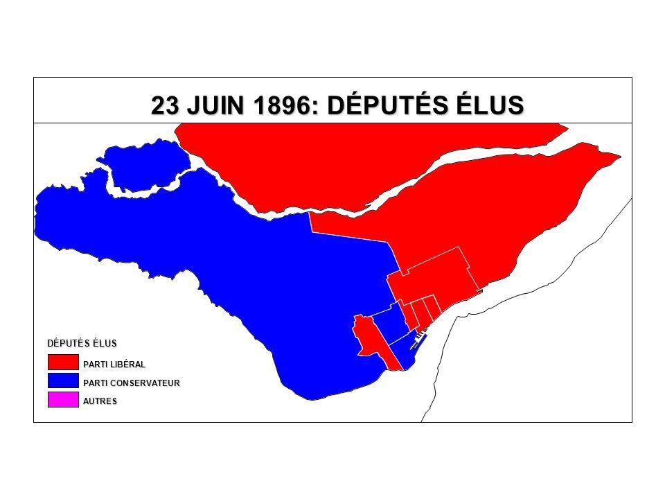 DÉPUTÉS ÉLUS AUTRES PARTI CONSERVATEUR PARTI LIBÉRAL 23 JUIN 1896: DÉPUTÉS ÉLUS