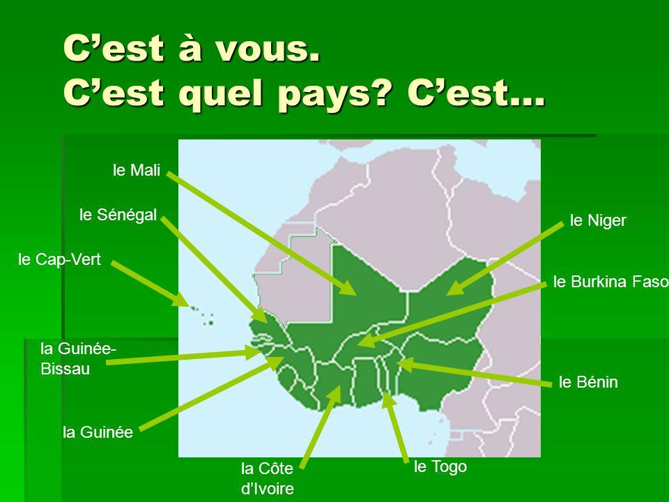 L'Afrique de l'Ouest francophone la Guinée la Guinée- Bissau le Sénégal le Cap-Vert la Côte d'Ivoire le Togo le Bénin le Burkina Faso le Niger le Mali