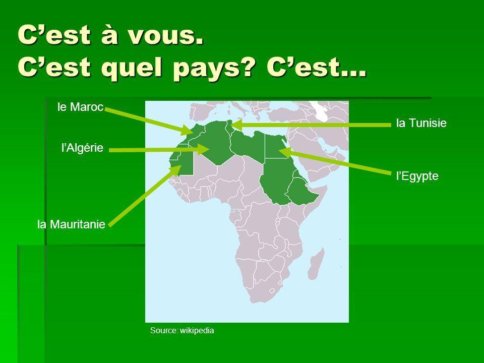 L'Afrique du Nord francophone l'Algérie le Maroc la Mauritanie l'Egypte la Tunisie Source: wikipedia