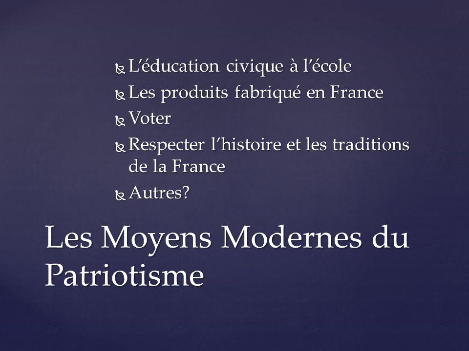  L'éducation civique à l'école  Les produits fabriqué en France  Voter  Respecter l'histoire et les traditions de la France  Autres.