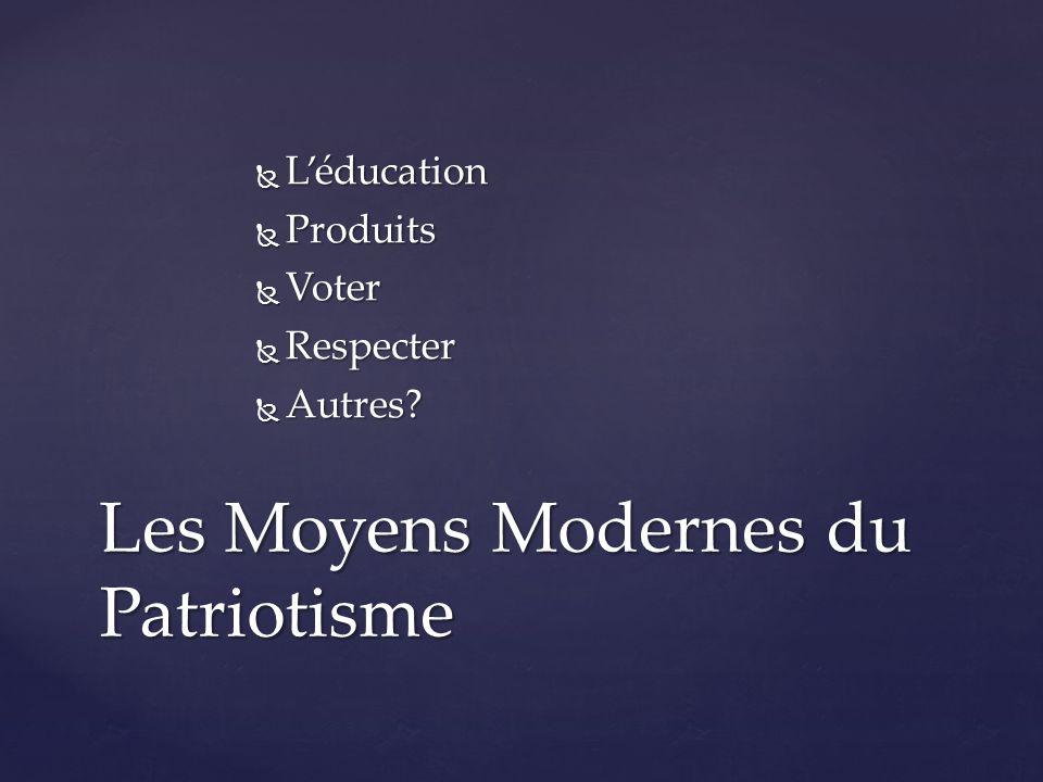  L'éducation  Produits  Voter  Respecter  Autres? Les Moyens Modernes du Patriotisme