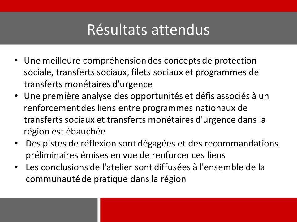 Une meilleure compréhension des concepts de protection sociale, transferts sociaux, filets sociaux et programmes de transferts monétaires d'urgence Un