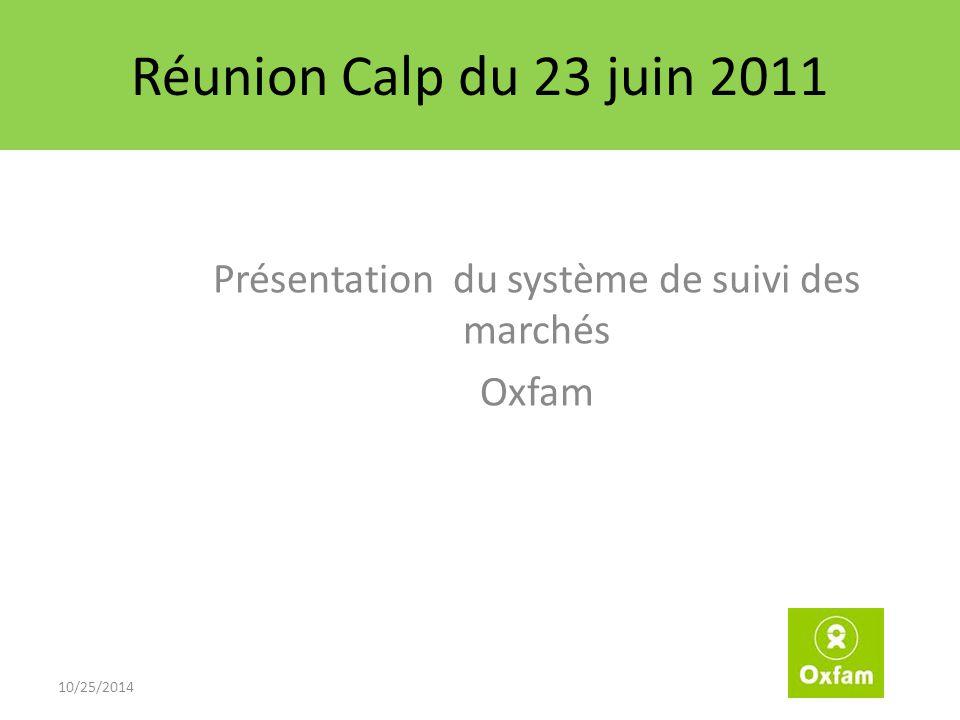 Réunion Calp du 23 juin 2011 Présentation du système de suivi des marchés Oxfam 10/25/2014