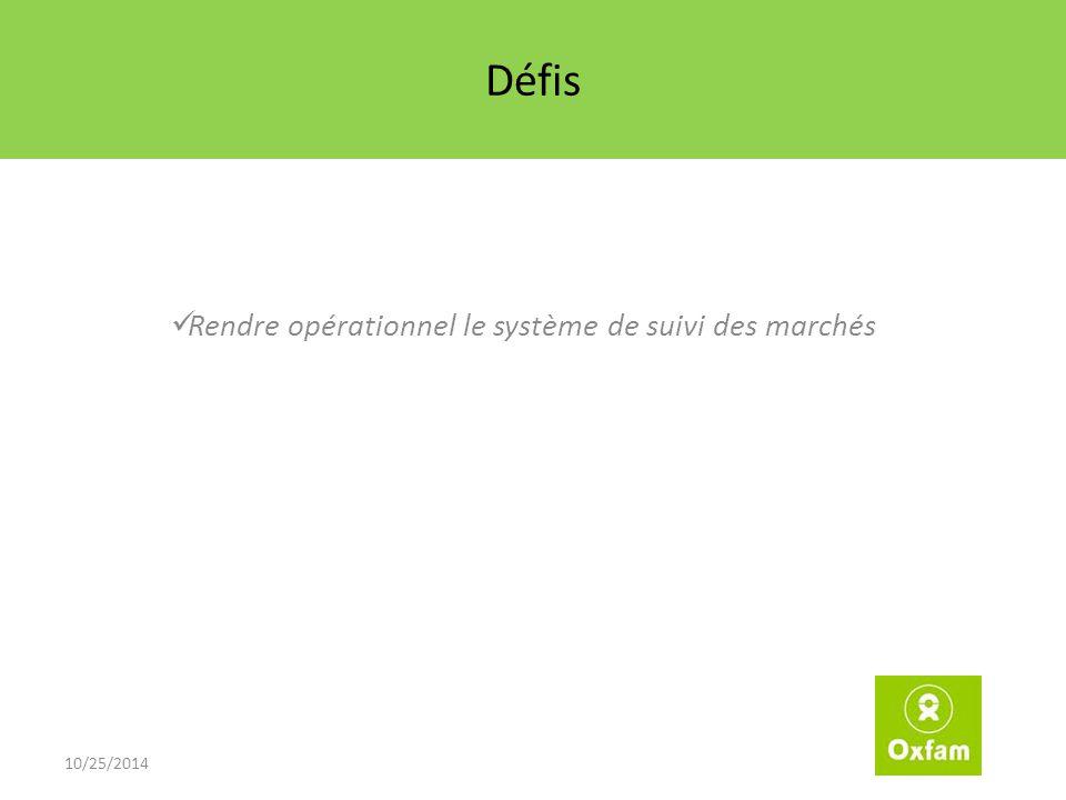 Défis Rendre opérationnel le système de suivi des marchés 10/25/2014