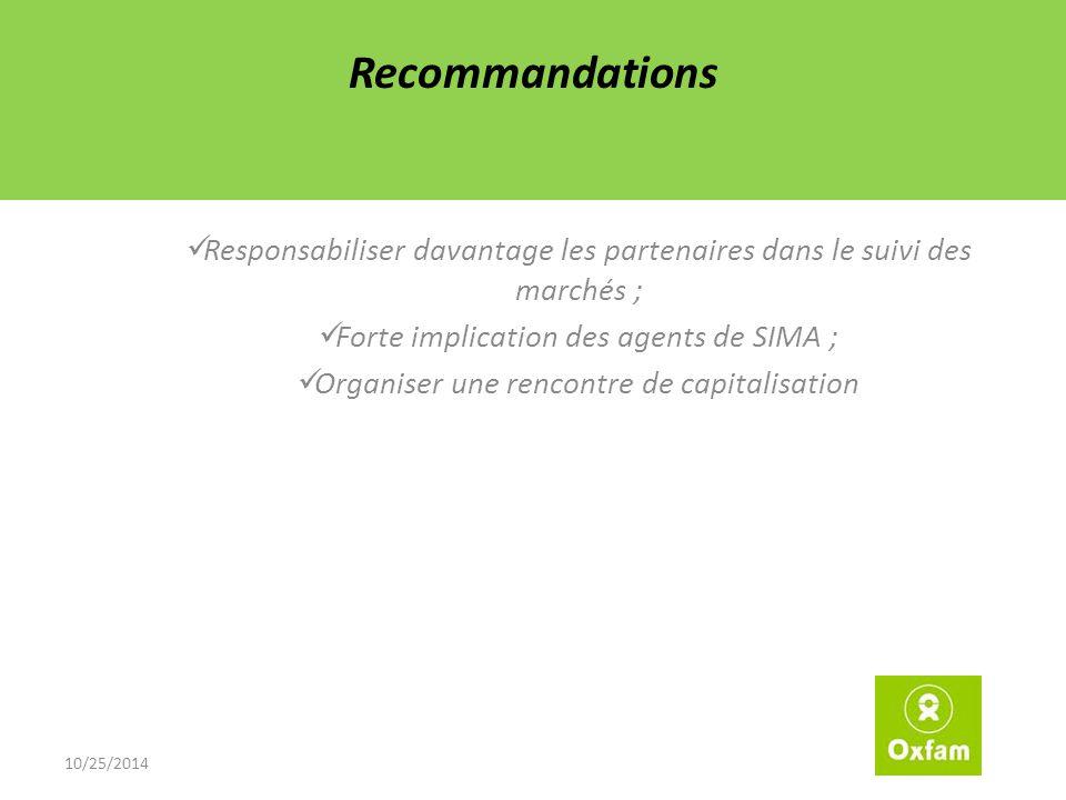 Recommandations Responsabiliser davantage les partenaires dans le suivi des marchés ; Forte implication des agents de SIMA ; Organiser une rencontre de capitalisation 10/25/2014