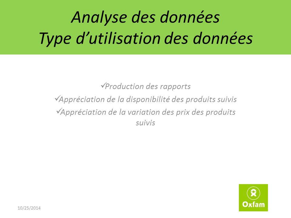 Analyse des données Type d'utilisation des données Production des rapports Appréciation de la disponibilité des produits suivis Appréciation de la variation des prix des produits suivis 10/25/2014