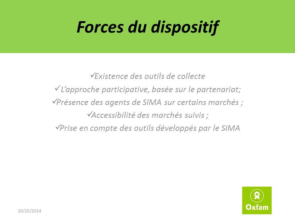 Forces du dispositif Existence des outils de collecte L'approche participative, basée sur le partenariat; Présence des agents de SIMA sur certains marchés ; Accessibilité des marchés suivis ; Prise en compte des outils développés par le SIMA 10/25/2014
