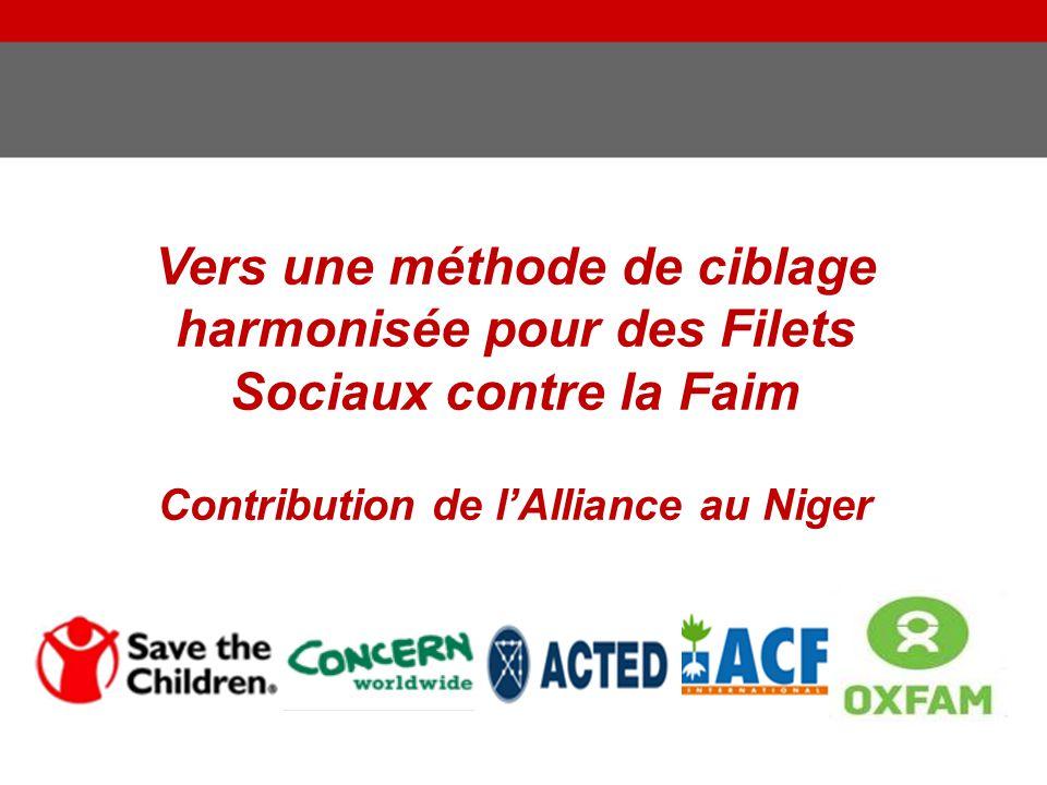 Vers une méthode de ciblage harmonisée pour des Filets Sociaux contre la Faim Contribution de l'Alliance au Niger