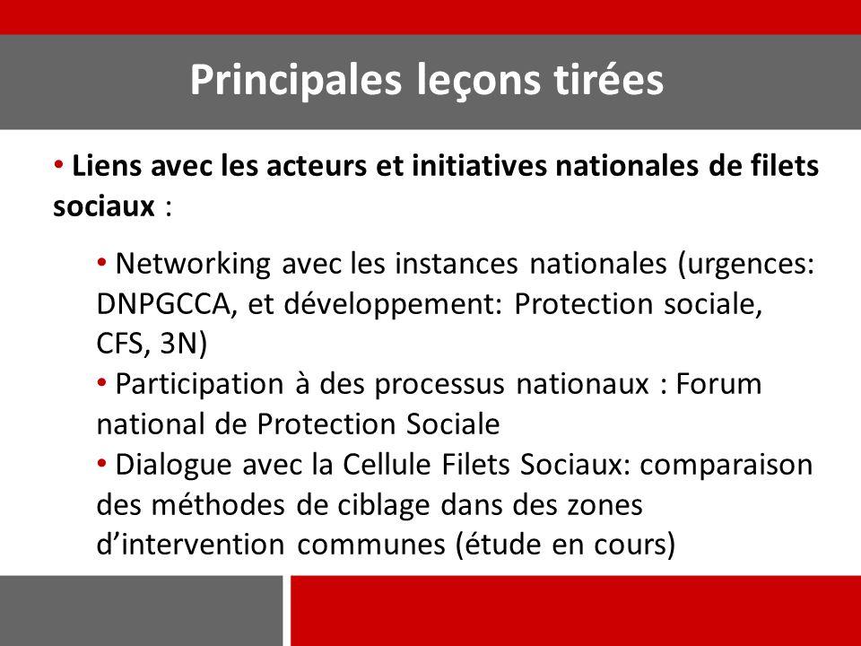 Principales leçons tirées Liens avec les acteurs et initiatives nationales de filets sociaux : Networking avec les instances nationales (urgences: DNP