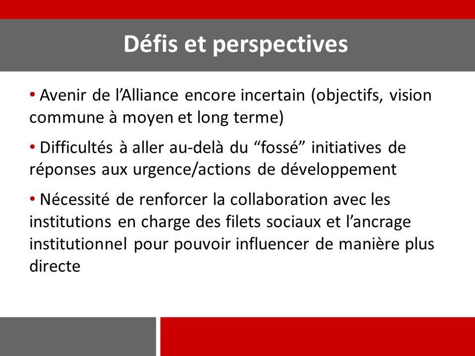 """Défis et perspectives Avenir de l'Alliance encore incertain (objectifs, vision commune à moyen et long terme) Difficultés à aller au-delà du """"fossé"""" i"""