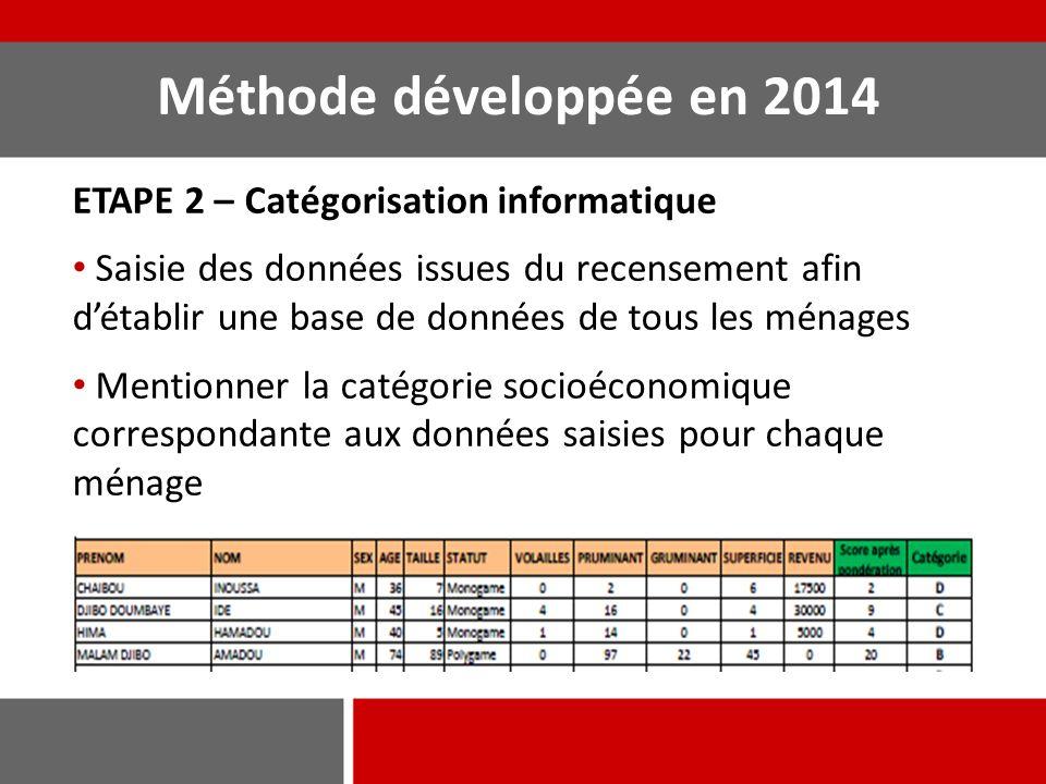 Méthode développée en 2014 ETAPE 2 – Catégorisation informatique Saisie des données issues du recensement afin d'établir une base de données de tous l