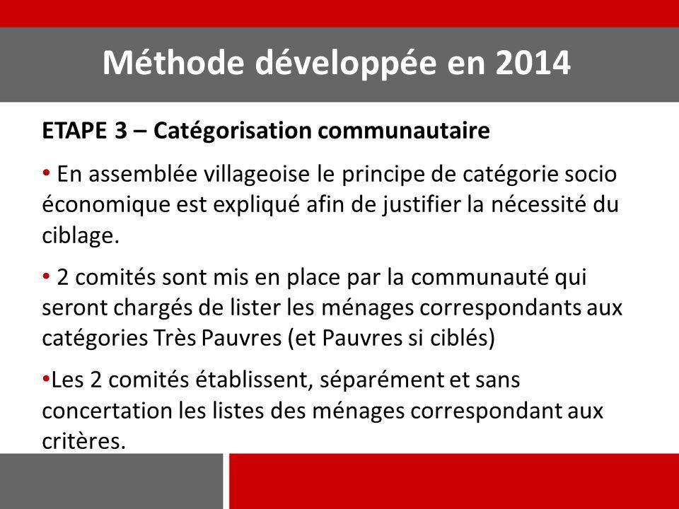 Méthode développée en 2014 ETAPE 4 – Réconciliation des listes de ménages éligibles Confrontation entre les 3 listes: les comités et l'équipe étudient les divergences entre les 3 listes et cherchent des explications et des conclusions consensuelles.