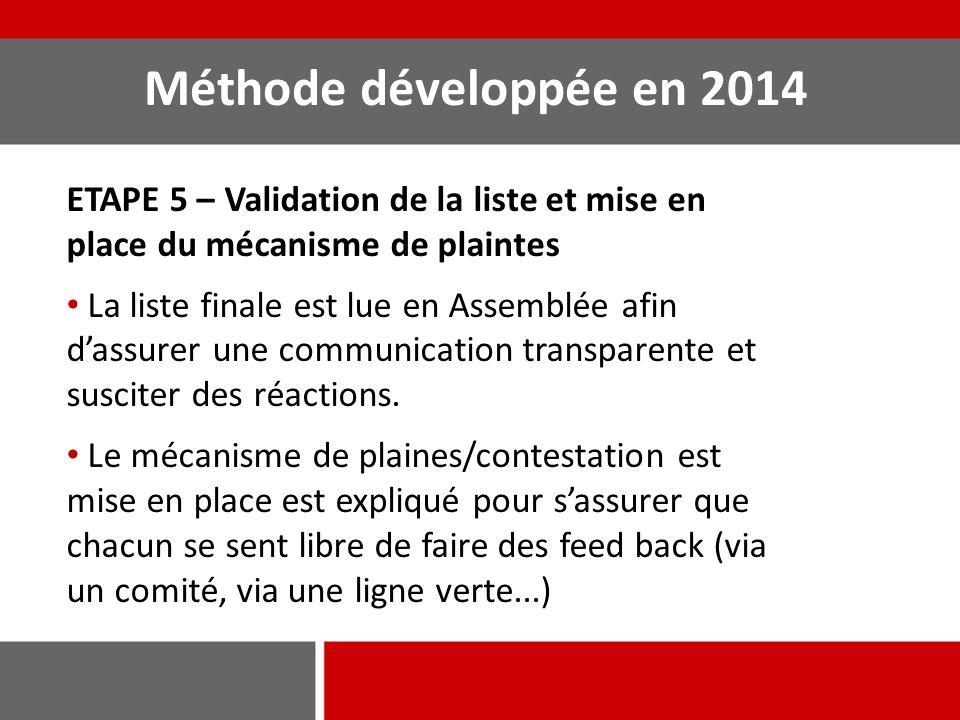 Méthode développée en 2014 ETAPE 5 – Validation de la liste et mise en place du mécanisme de plaintes La liste finale est lue en Assemblée afin d'assu