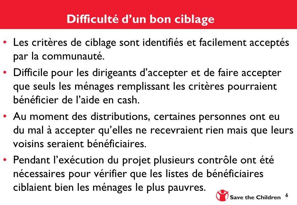 6 Difficulté d'un bon ciblage Les critères de ciblage sont identifiés et facilement acceptés par la communauté.