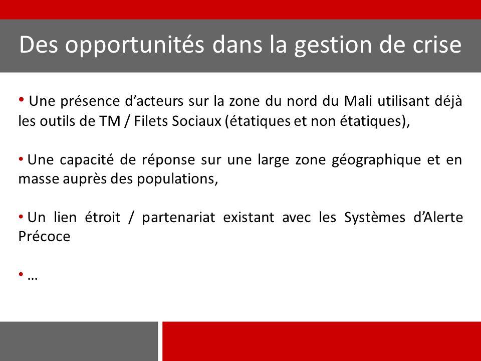 Des opportunités dans la gestion de crise Une présence d'acteurs sur la zone du nord du Mali utilisant déjà les outils de TM / Filets Sociaux (étatiques et non étatiques), Une capacité de réponse sur une large zone géographique et en masse auprès des populations, Un lien étroit / partenariat existant avec les Systèmes d'Alerte Précoce …