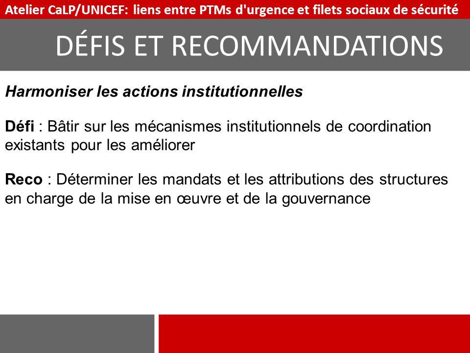 Harmoniser les actions institutionnelles Défi : Bâtir sur les mécanismes institutionnels de coordination existants pour les améliorer Reco : Détermine