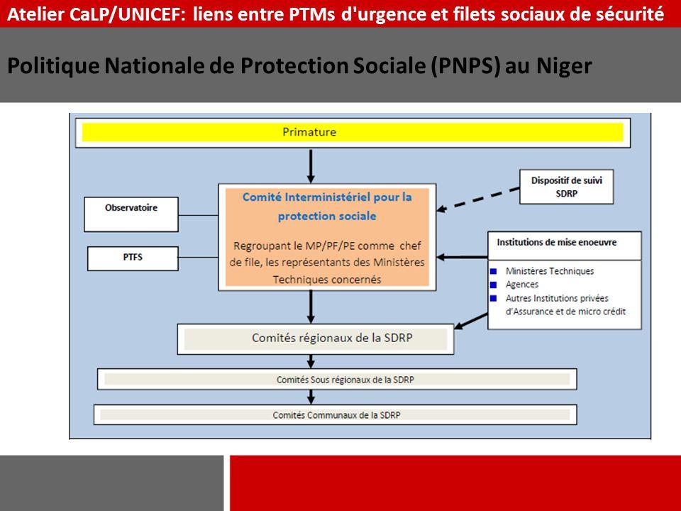 Atelier CaLP/UNICEF: liens entre PTMs d'urgence et filets sociaux de sécurité Politique Nationale de Protection Sociale (PNPS) au Niger
