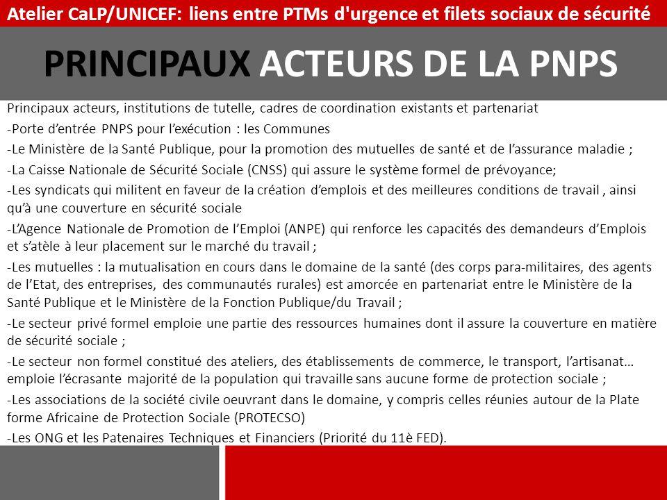 Principaux acteurs, institutions de tutelle, cadres de coordination existants et partenariat ‐Porte d'entrée PNPS pour l'exécution : les Communes ‐Le