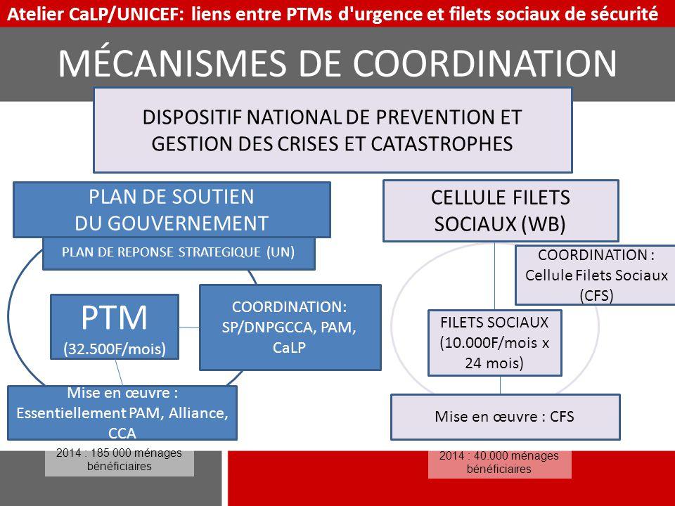 Atelier CaLP/UNICEF: liens entre PTMs d'urgence et filets sociaux de sécurité PTM (32.500F/mois) CELLULE FILETS SOCIAUX (WB) Mise en œuvre : Essentiel