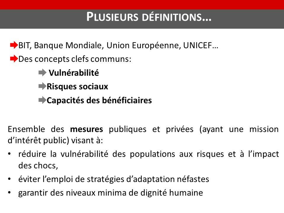 P LUSIEURS DÉFINITIONS … ➨ BIT, Banque Mondiale, Union Européenne, UNICEF… ➨ Des concepts clefs communs: ➨ Vulnérabilité ➨ Risques sociaux ➨ Capacités